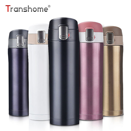 Transhome Fashion Travel Mug 450ml Tea Coffee Mug Water Vacuum Cup Thermos Stainless Steel Tumbler Thermocup Travel Drink Bottle