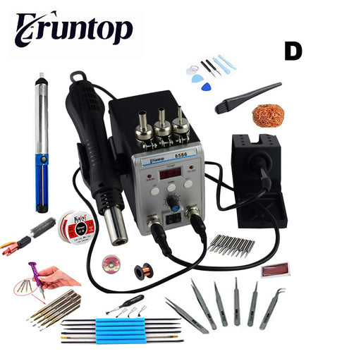 750W 2 in 1 SMD Rework Soldering Station New Eruntop 8586 Hot Air Gun + Solder Iron