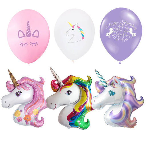Unicorn Party Foil Balloons Birthday Unicornio Latex Ballons 1st Birthday Party Kids Decorations Baby Shower Party Supplies