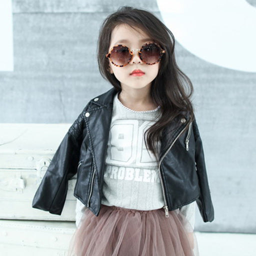 DreamShining Spring Kids PU Leather Jackets for Children | Outwear For Baby Girls Boys w/ Zipper Coats