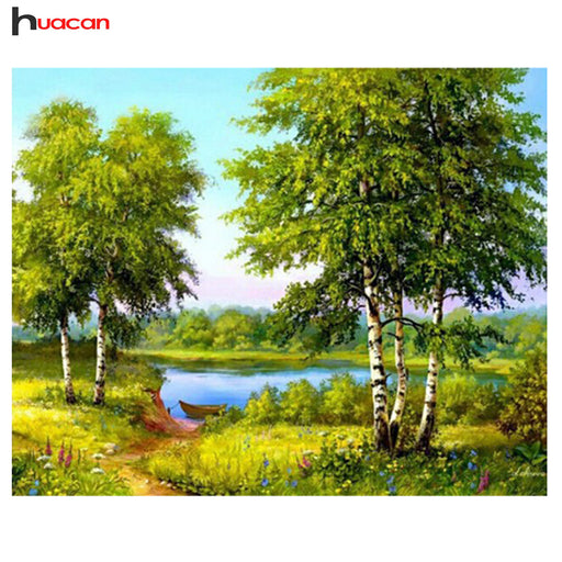 HUACAN DIY Diamond Painting, Cross Stitch Tree, Full Square Rhinestones, 5D Embroidery Mosaic Wall Decor