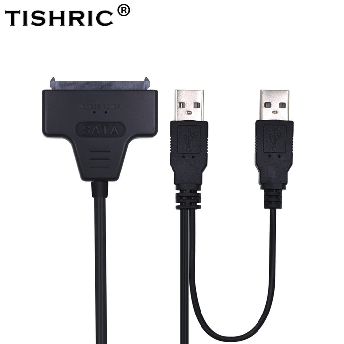 TISHRIC 2018 Hot SATA to USB 2.0 To 7 15 22pin Adapter Cables External Power For 2.5'' Ssd Hdd Hard Disk Drive Converter