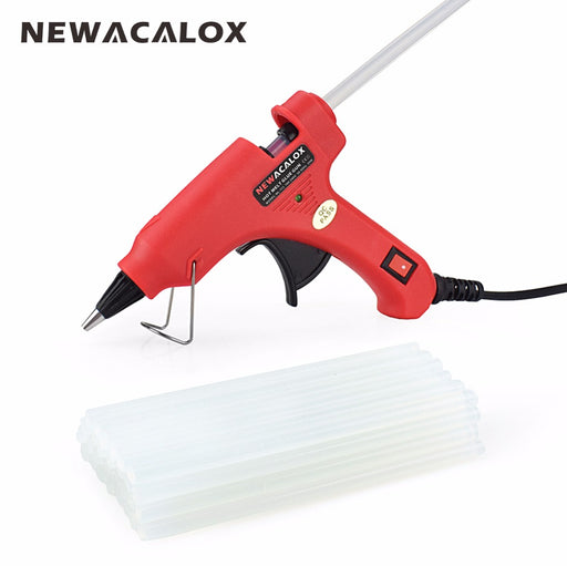 NEWACALOX 20W EU/US Hot Melt Glue Gun with Free 20pc 7mm Glue