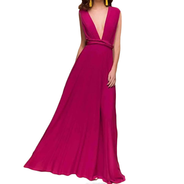 Sexy Women's Multiway Wrap Convertible Boho Maxi Club Red Dress Bandage / Long Dress Party Bridesmaids Infinity Robe Longue