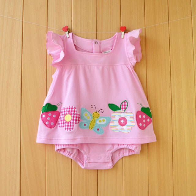 Baby Girl Clothes 2018 Summer Baby Rompers,Flower Cotton Infant Jumpsuits