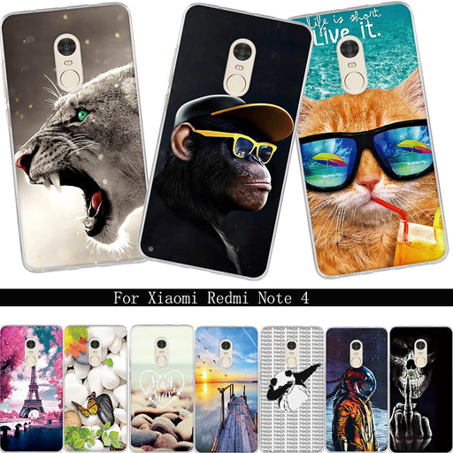 Case For Xiaomi Redmi Note 4 Cover For Xiaomi Redmi Note4 Phone Case Soft Silicone TPU 5.5'' Cute Cover For Redmi Note 4 Cases