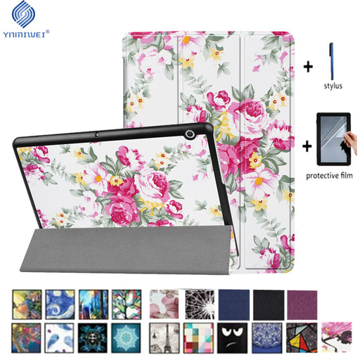 YNMIWEI Case For Huawei MediaPad T3 10 Tablet Stand Slim Cases For T3 9.6 inch Honor Play Pad 2 Cover AGS-L09 AGS-L03 W09 +film