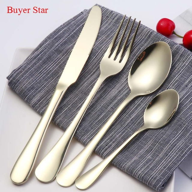 High Grade 18/8 Stainless Steel Cutlery Set - Available in Rose Gold, Brown, Blue & Black Tableware