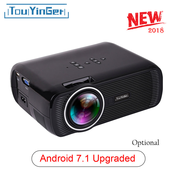 Portable Home ( Androiod 7.1 WIFI Mirroring Optional) Mini LED Projector Support TV Full HD 1080p 4K Video Touyinger Everycom X7