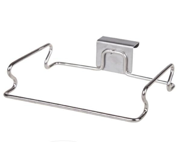 Stainless steel kitchen trash bag holder door hook garbage bags hanger Cupboard  Stand Support storage rack kitchen Accessories