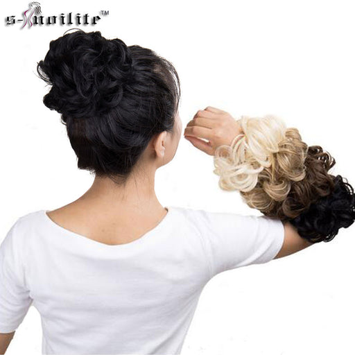 SNOILITE Curly Heat Resistant Synthetic Hair, Women's Chignon with Rubber Band Hair Extension Updo Donut Hairpieces