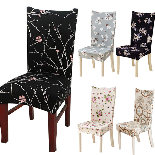 Spandex Elastic Flower Printing Chair Covers Four Seasons Home Chair Cover Anti-dirty Dining Chair Cover Case for Banquet Party