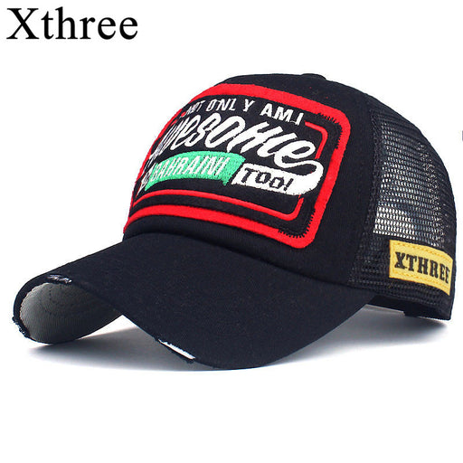Xthree Summer Baseball Cap Embroidery Mesh Cap Hats For Men & Women, Snapback Dad's Caps