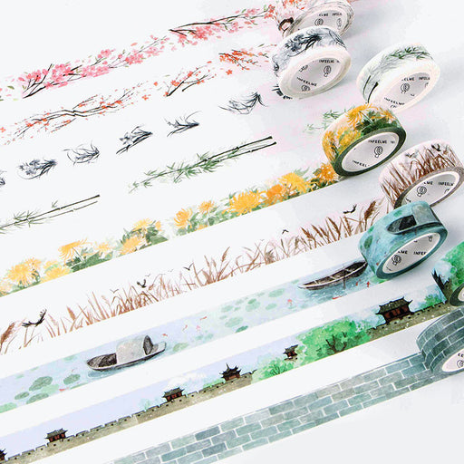 Cute Flower Washi Tape Kawaii Vintage Retro Decorativ Adhesive Tape, DIY Masking Tape For Scrapbooking Photo Album Home Decor