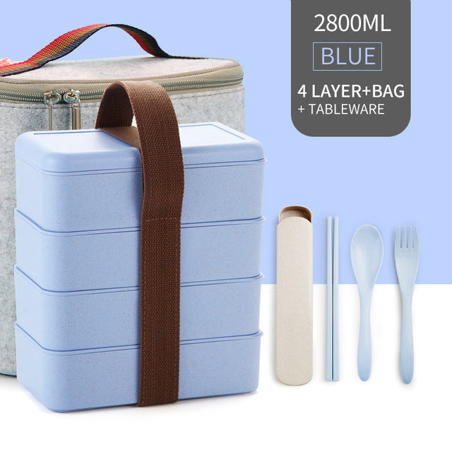 WORTHBUY Microwave Lunch Box For Kids, Food Storage Container, Japanese Wheat Straw Leakproof Bento Box Portable School Picnic Set