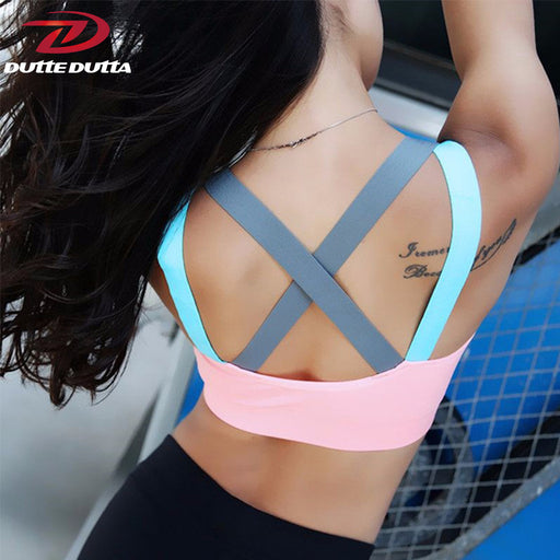 Push Up Women's Sports Bra For Fitness & Yoga | Cross Strap Padded Tank Athletic Vest Underwear