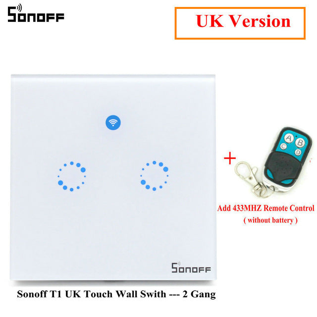Sonoff T1 Smart Switch EU / UK WiFi RF/APP/ Touch Control Wall Light Switch 1/2 /3 Gang Panel Wall Touch Light Switch Smart Home
