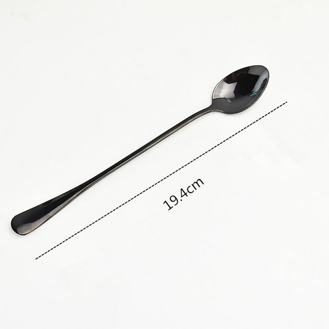 Stainless Steel Coffee & Tea Spoon With Long Handle Kitchen Colourful Coffee Scoops Mixing spoons Ice Cream Dessert Tea Spoon