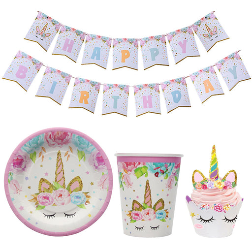 Unicorn Party Happy Birthday Paper Banners Paper Cups Plate Napkin Tablecloth 1st Birthday Party Decoration Kids Party Supplies