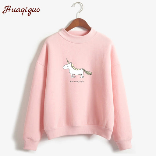 Women's Hoodies, Turtleneck Sweatshirt, 2017 Autumn Winter , Kawaii Unicorn Print Harajuku Casual Pullover