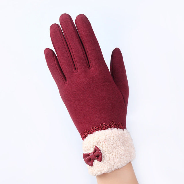 Women's Fashion Elegant Touch Screen Gloves w/ Ladies Lace Warm Cashmere Bow Full Finger Mittens - 16A-F