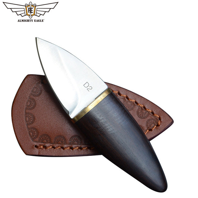 ALMIGHTY EAGLE Mini Straight Blade Knife with Wood Handle Knifes, Stainless Steel EDC for Hunting, Camping, & Outdoor