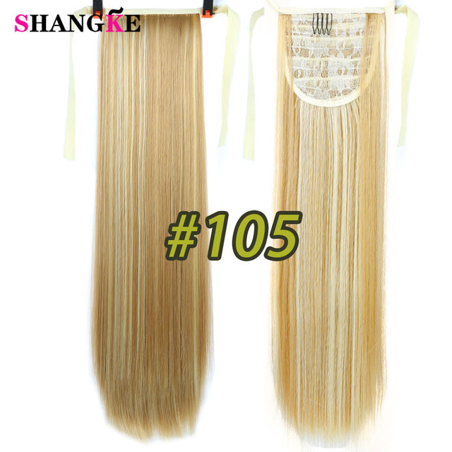 SHANGKE Hair 22'' Long Straight Ponytails, Clip In Ponytail, Drawstring Synthetic Pony Tail, Heat Resistant Fake Hair Extensions