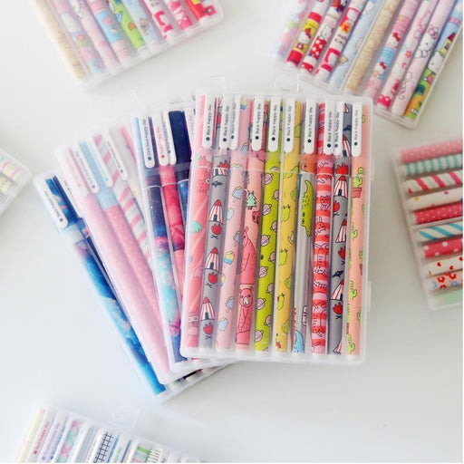10pcs / 6pcs Colorful Flower Chancery Gel Pen Office Stationary - 04083