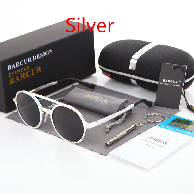 BARCUR Polarized Retro Aluminum Magnesium Sunglasses Best for Driving - Unisex