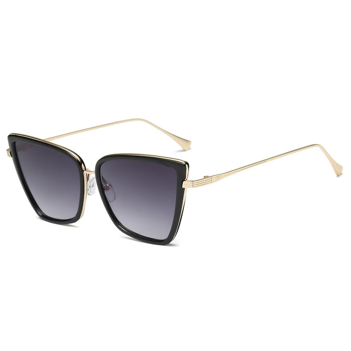Cat Eye Sunglasses for Women Fashion Mirrored Lens Metal Frame SJ1081