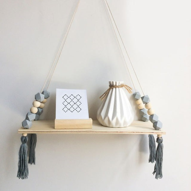 Nordic Style Wooden Bead Rack Baby Room Wooden Beads Tassel Wall Shelf Room Storage Organization Wall Hanging Decor