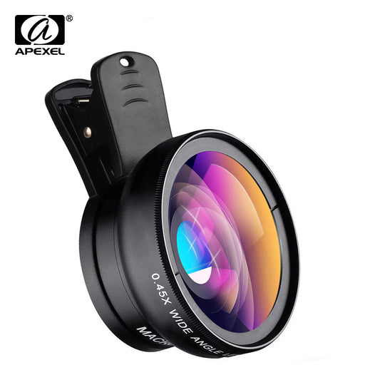 APEXEL Phone Lens kit 0.45x Super Wide Angle & 12.5x Super Macro Lens HD Camera Lentes for iPhone 6S 7 Xiaom