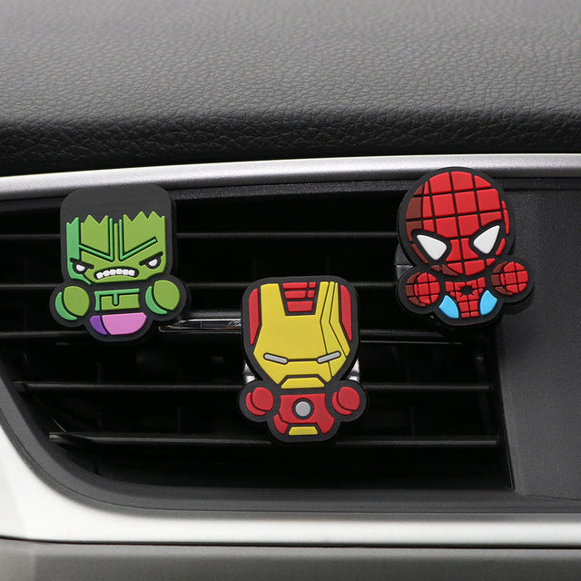 3pcs/set Cute Automobile Car Vent Perfum Clip For Marvel Avengers Hero Figure Auto Interior Decoration Air Freshener Accessories