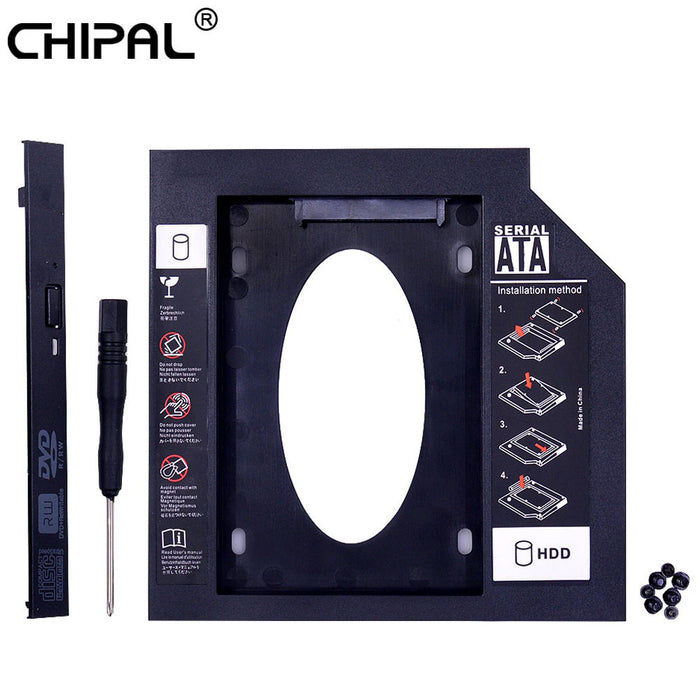 CHIPAL Universal 2nd HDD Caddy 9.5mm SATA 3.0 for 2.5'' 9mm 7mm SSD Case Hard Drive Enclosure for Laptop DVD-ROM CD-ROM Optibay