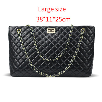 2018 Luxury Brand Women's Plaid Bags, Large Tote, Black Leather Big Crossbody, Chain Messenger Bag for Girls