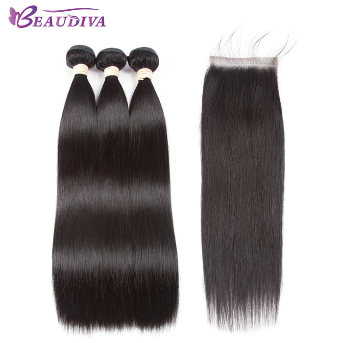 Beaudiva Hair Extension, 100% Human Hair Bundles With Closure Brazilian Hair Weave, 3 Bundles Straight With Lace Closure
