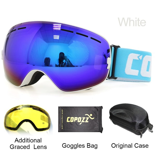 COPOZZ Ski Goggles with Case & Yellow Lens UV400 | Anti-fog Spherical Ski w/ Lens + Box Set
