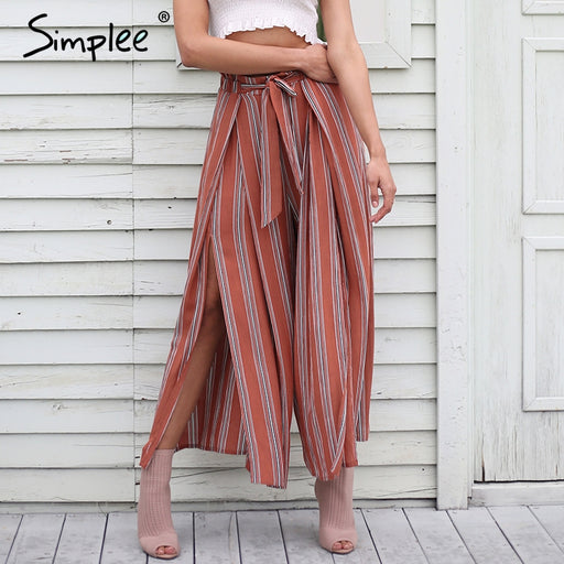 Simplee High Split Stripe Wide Leg Pants Women Summer Beach High Waist Trousers Chic Streetwear Sash Casual Pants