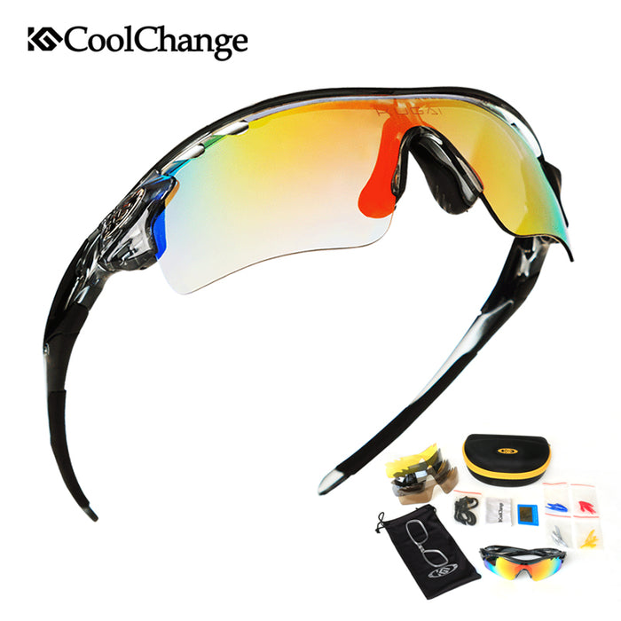 CoolChange Polarized Cycling Glasses for Bike, Outdoor & Sports Googles w/ 5 Lens Myopia Frame