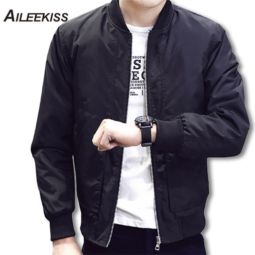 2018 Spring Autumn Casual Solid Fashion Slim Bomber Jacket Men's Overcoat Baseball Jackets 4xl Top XT380