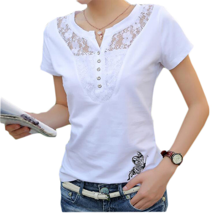 FEKEHA Summer T-shirt Women Casual Lady Top Tees ,Cotton White, Plus Size 4XL