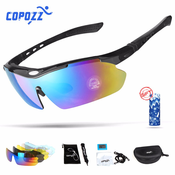 Copozz Polarized Cycling Glasses for Outdoor MTB Mountain Goggles w/ Myopia 5 Lens