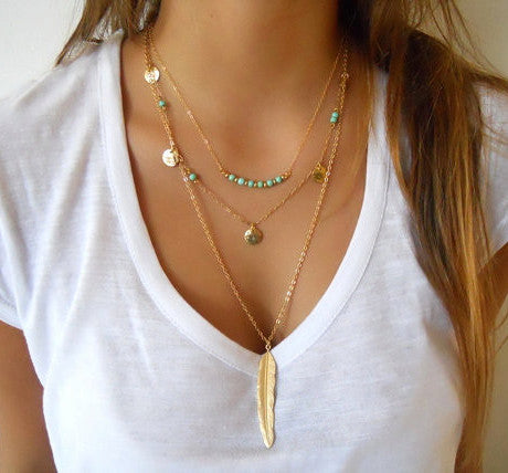 Hot Fashion Gold Color Multilayer Coin Tassel,  Lariat Bar Necklaces, Beads Choker Feather Pendants Necklaces For Women