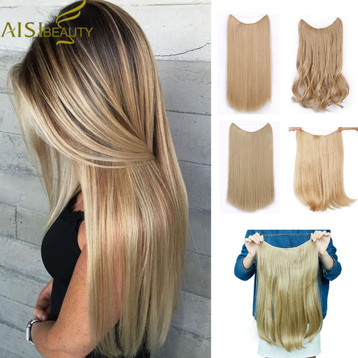 [ AISI BEAUTY ]  Long Synthetic Hair, Heat Resistant Hairpiece, Fish Line Straight Hair Extensions w/ Secret Invisible Hairpieces