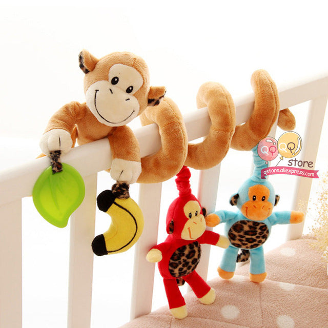 Happy Monkey Baby Plush Animal Rattle Mobile Infant Stroller Bed Crib Spiral Hanging Toys Gift for Newborn Children 0-12 Months