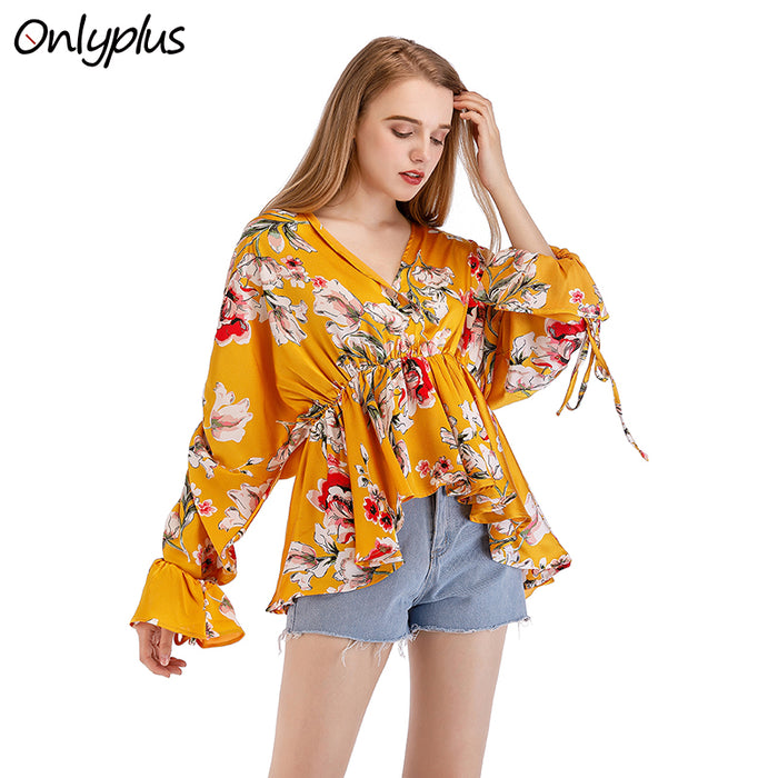 Onlyplus Women Boho Printed Blouse Autumn Long Sleeve Shirt Floral Vintage Fashion Loose Blouse Elastic Waist Backless Blusas