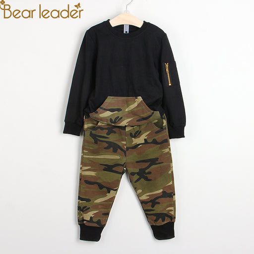 Bear Leader Boys Clothing Sets 2018 New Autumn Fashion Style Long Sleeve Camouflage Printing Design for Children Clothing 3-7Y