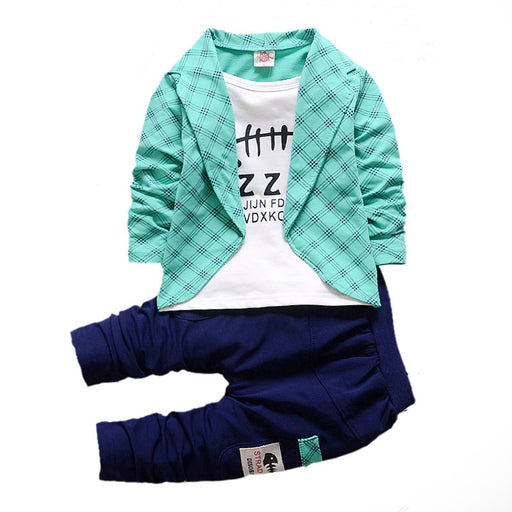 Baby Unisex Button Clothes Plaid Suits Spring Autumn Toddler Sets Children T-Shirt Pants 2Pcs/Sets Kids Tracksuits For 1-5 Y
