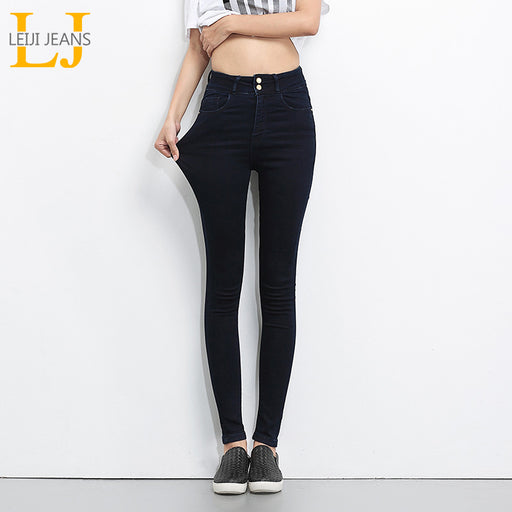 Leijijeans 2018 Jeans For Women High Waist Denim, Elastic Skinny Pencil, Stretch Pants, Plus Size
