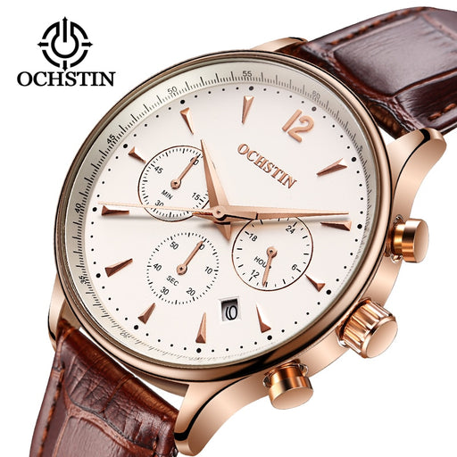 2018 Men's Business Watches Top Brand Luxury Waterproof Chronograph Watch Man Leather Sport Quartz Wrist Watch Men Clock Male